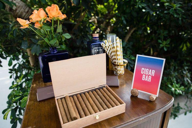 Wedding cigar bar and wedding stationery