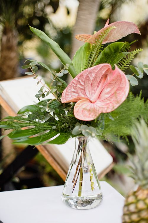 Tropical bright wedding flowers