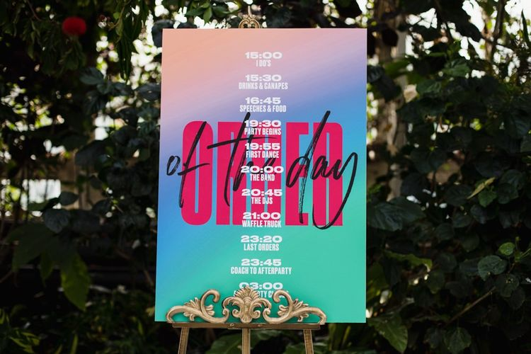 Order of the day sign in bright colours