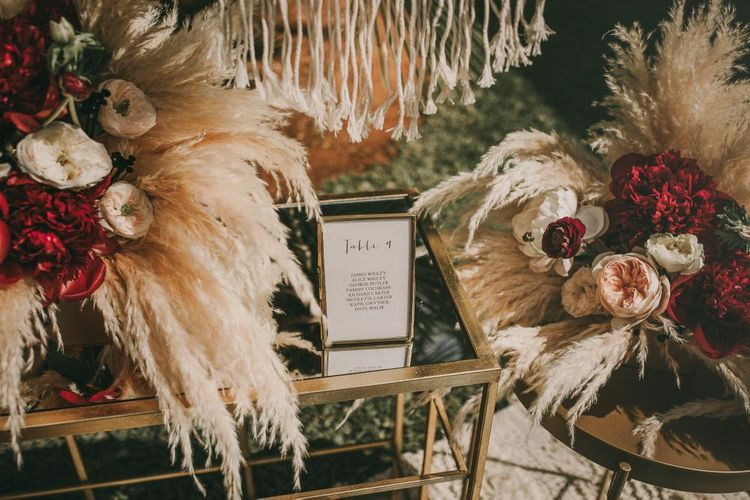 Pampas Grass Wedding Decor // Wes Anderson Inspired Destination Wedding Planned & Styled By Paloma Cruz Events With Images From Pablo Laguia & Film By David Rodriquez
