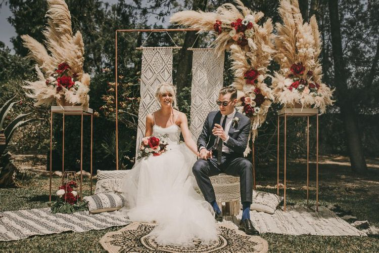 Pampas Grass & Macrame Wedding Decor // Wes Anderson Inspired Destination Wedding Planned & Styled By Paloma Cruz Events With Images From Pablo Laguia & Film By David Rodriquez