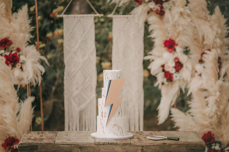 Ziggy Stardust Inspired Wedding Cake // Wes Anderson Inspired Destination Wedding Planned & Styled By Paloma Cruz Events With Images From Pablo Laguia & Film By David Rodriquez