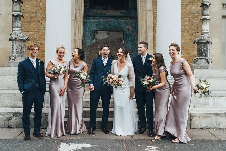 Wedding Party Portrait with Bridesmaids in Dusky Pink Bridesmaid Dresses