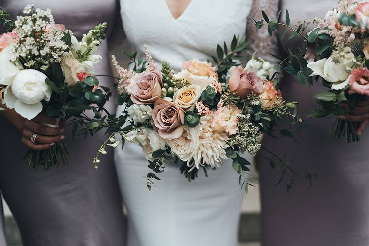 Dusky Pink and Taupe Wedding Flowers by Petal & Pot and Dusky Pink Bridesmaid Dresses