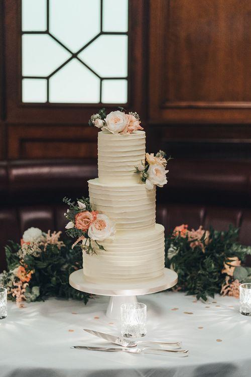 Wedding Cake with Dusky Pink Flowers