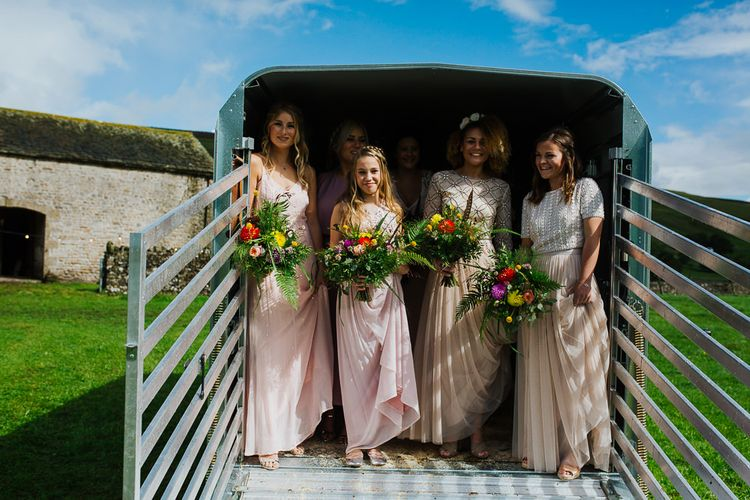 Bridal Party    Bride in Daughters of Simone Lace Gown   Bridesmaids in Blush Separates   Brightly Coloured Festival Wedding with Outdoor Humanist Ceremony & Tipi Reception on the Yorkshire Dales   Tim Dunk Photography