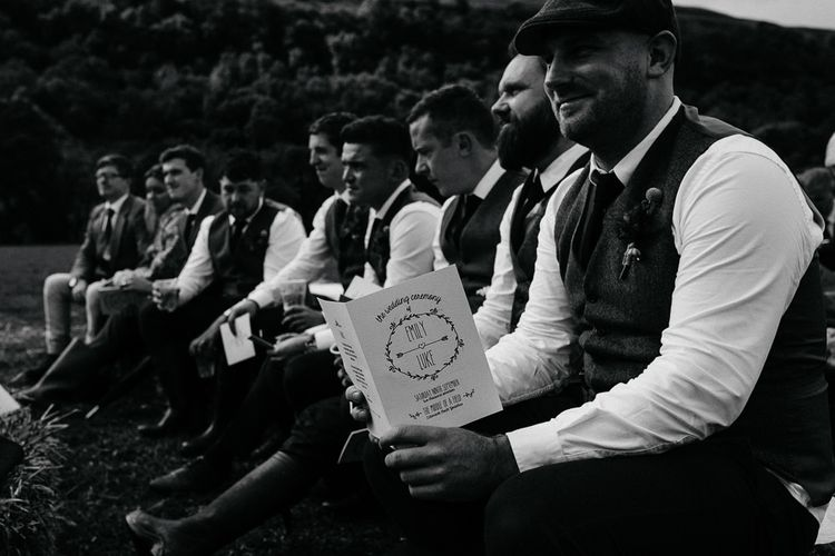 Wedding Ceremony    Groomsmen in Tweed Suit   Brightly Coloured Festival Wedding with Outdoor Humanist Ceremony & Tipi Reception on the Yorkshire Dales   Tim Dunk Photography
