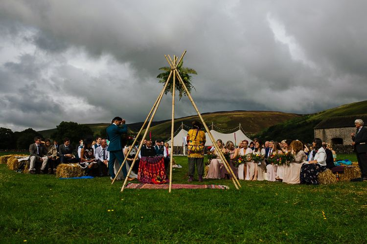 Naked Tipi   Brightly Coloured Festival Wedding with Outdoor Humanist Ceremony & Tipi Reception on the Yorkshire Dales   Tim Dunk Photography