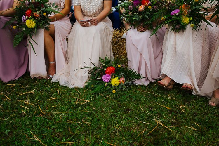 Bridal Party   Bridesmaids in Blush Separates   Brightly Coloured Festival Wedding with Outdoor Humanist Ceremony & Tipi Reception on the Yorkshire Dales   Tim Dunk Photography