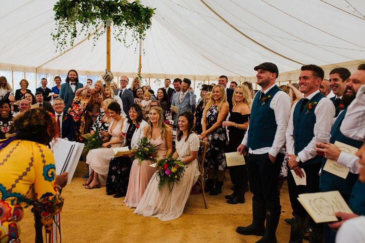 Wedding Ceremony    Brightly Coloured Festival Wedding with Outdoor Humanist Ceremony & Tipi Reception on the Yorkshire Dales   Tim Dunk Photography