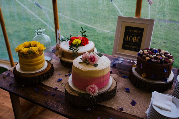 Homemade Wedding Cakes   Brightly Coloured Festival Wedding with Outdoor Humanist Ceremony & Tipi Reception on the Yorkshire Dales   Tim Dunk Photography