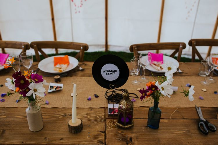 Vinyl Wedding Decor   Brightly Coloured Festival Wedding with Outdoor Humanist Ceremony & Tipi Reception on the Yorkshire Dales   Tim Dunk Photography