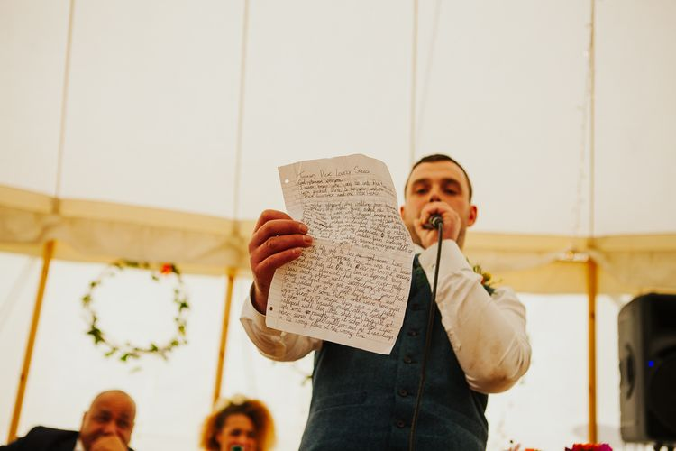 Wedding Speeches   Brightly Coloured Festival Wedding with Outdoor Humanist Ceremony & Tipi Reception on the Yorkshire Dales   Tim Dunk Photography