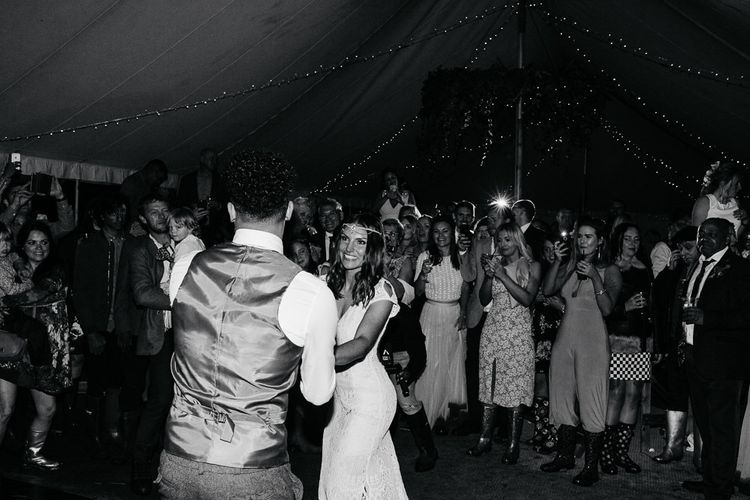 First Dance   Bride in Daughters of Simone Lace Gown   Groom in Tweed Suit   Brightly Coloured Festival Wedding with Outdoor Humanist Ceremony & Tipi Reception on the Yorkshire Dales   Tim Dunk Photography