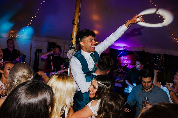 Groom in Tweed Suit   Brightly Coloured Festival Wedding with Outdoor Humanist Ceremony & Tipi Reception on the Yorkshire Dales   Tim Dunk Photography