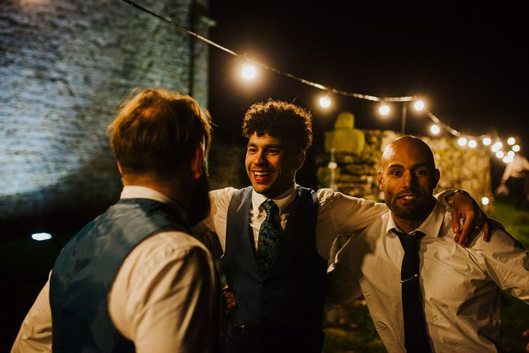 Evening Reception with Festoon Lights   Brightly Coloured Festival Wedding with Outdoor Humanist Ceremony & Tipi Reception on the Yorkshire Dales   Tim Dunk Photography