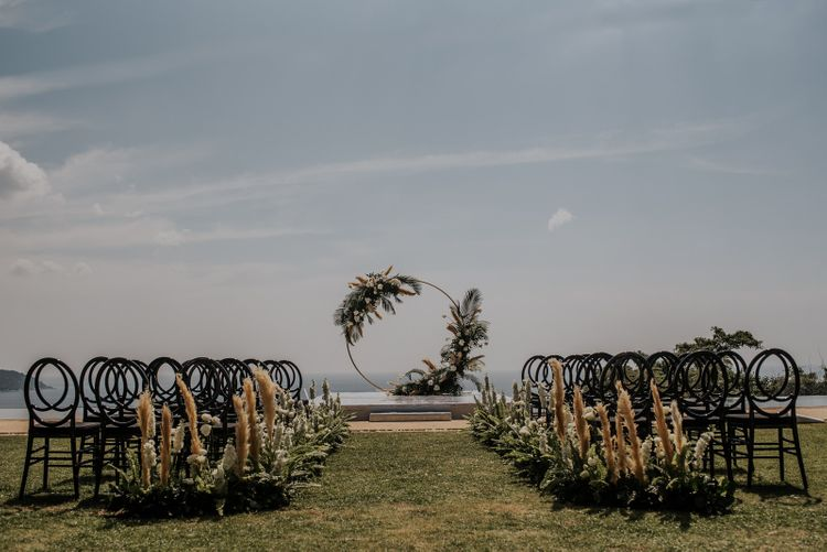 Stunning wedding ceremony set up with moon gate for Thailand wedding