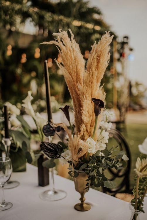 Pampas grass wedding decor at Thailand wedding