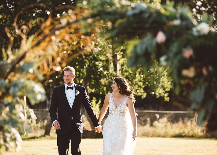 Bride and groom at Crouchers Orchards for intimate outdoor ceremony