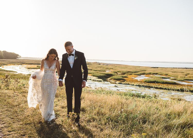 Bride and groom steal a moment and enjoy golden hour together
