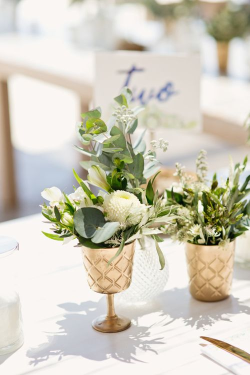 White and Green Wedding Flowers in Gold Goblets