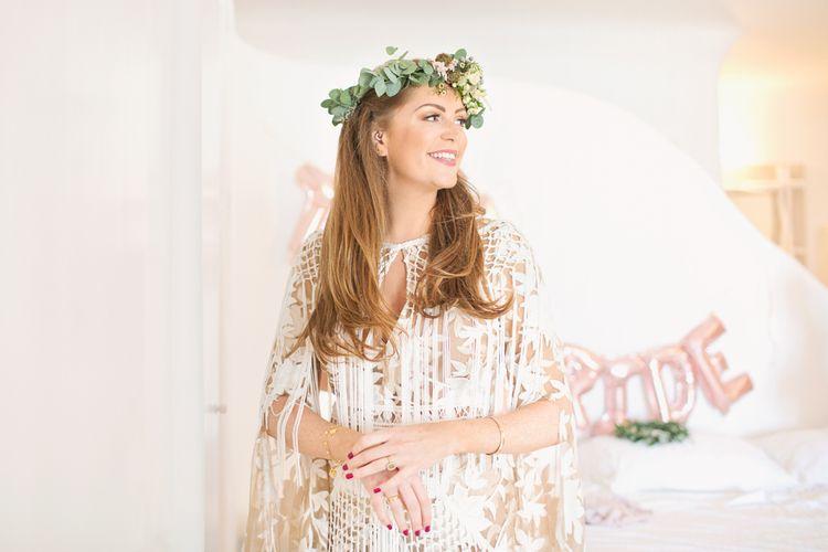 Boho Bride in Flower Crown and Rue De Seine Dakota Wedding Dress with Fringe Detail