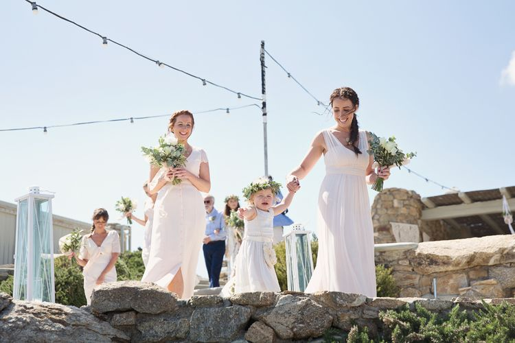 Bridal Party Entrance in Maids to Measure Dresses