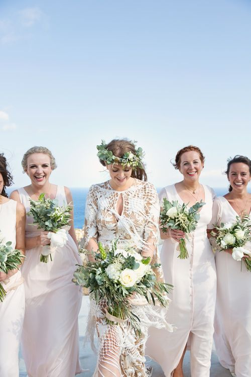 Bridal Party Portrait with Bride in Rue De Seine Wedding Dress with Fringe Detail and Bridesmaids in Maids to Measure Dresses