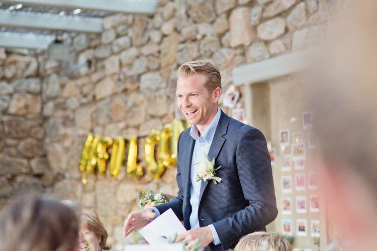 Wedding Reception Grooms Speech in Blue Blazer
