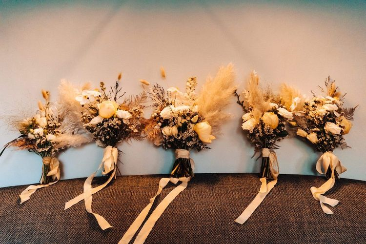 October wedding bouquets with pampas grass & dried flowers