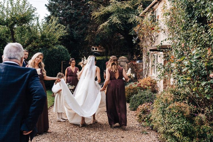 Brown bridesmaid dresses for October wedding