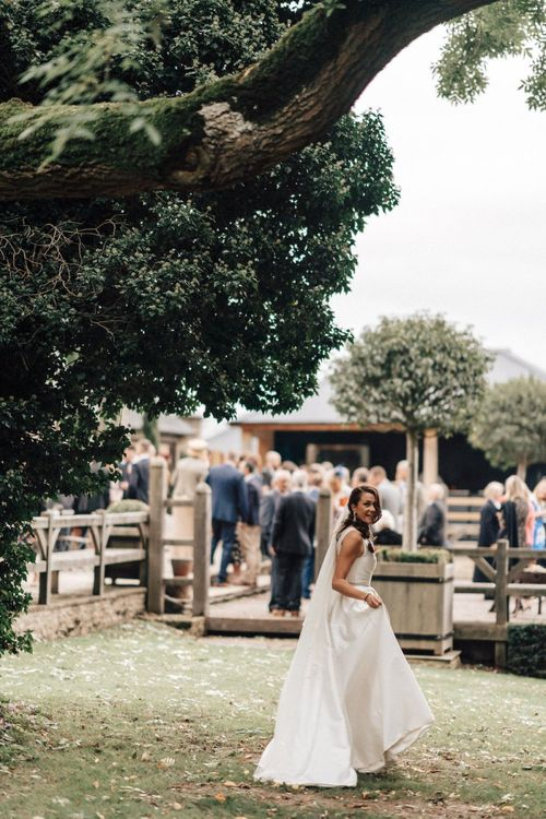 Bride at Cripps Barn wedding in Gloucestershire