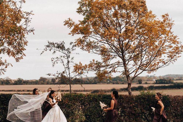 Bridal party at October wedding
