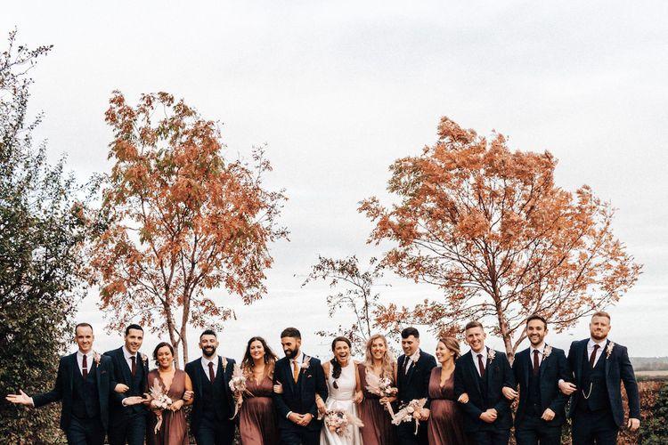 Wedding party during Autumn wedding