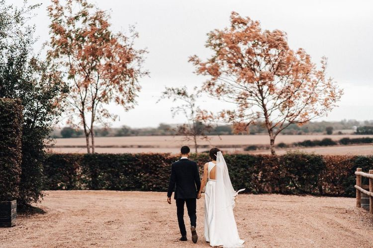 Bride and groom at Autumn wedding