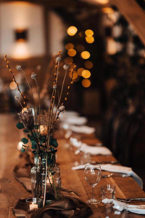 Dried flowers wedding table decor