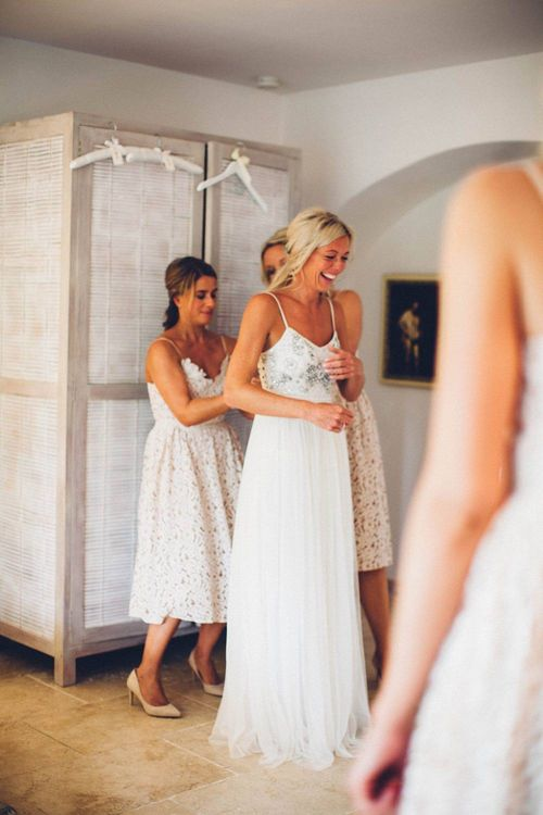 Wedding Morning Bridal Preparations | Bride in Needle & Thread Gown | Bridesmaids in Nude Lace ASOS Dresses | Outdoor Destination Wedding at Le Peit Hameau Wedding Venue Provence, South of France Planned by By Mademoiselle | Lovestruck Photography