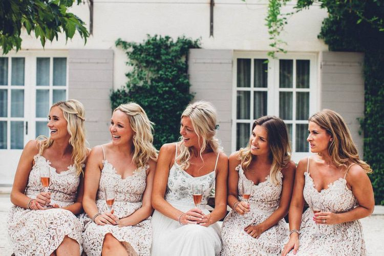 Bridal Party | Bride in Needle & Thread Gown | Bridesmaids in Nude Lace ASOS Dresses | Outdoor Destination Wedding at Le Peit Hameau Wedding Venue Provence, South of France Planned by By Mademoiselle | Lovestruck Photography