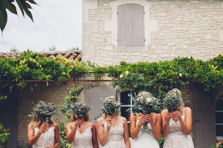 Greenery Wedding Bouquets | Bridal Party | Bride in Needle & Thread Gown | Bridesmaids in Nude Lace ASOS Dresses | Outdoor Destination Wedding at Le Peit Hameau Wedding Venue Provence, South of France Planned by By Mademoiselle | Lovestruck Photography