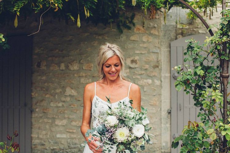 Greenery Bridal Bouquet | Bride in Needle & Thread Gown | Outdoor Destination Wedding at Le Peit Hameau Wedding Venue Provence, South of France Planned by By Mademoiselle | Lovestruck Photography