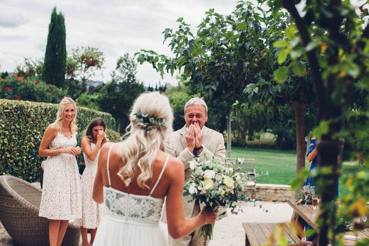 Father of the Bride First Look | Bride in Needle & Thread Wedding Dress | Outdoor Destination Wedding at Le Peit Hameau Wedding Venue Provence, South of France Planned by By Mademoiselle | Lovestruck Photography