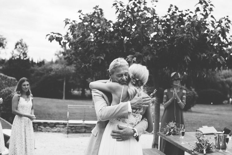 Father of The Bride First Look | Bride in Needle & Thread Bridal Gown | Outdoor Destination Wedding at Le Peit Hameau Wedding Venue Provence, South of France Planned by By Mademoiselle | Lovestruck Photography