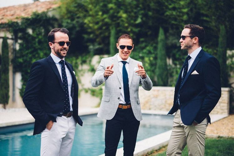 Groomsmen in Chino's & Blazers | Outdoor Destination Wedding at Le Peit Hameau Wedding Venue Provence, South of France Planned by By Mademoiselle | Lovestruck Photography