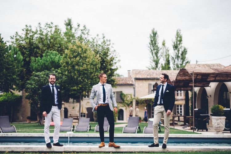 Groomsmen in Chino's & Blazer Combo | Outdoor Destination Wedding at Le Peit Hameau Wedding Venue Provence, South of France Planned by By Mademoiselle | Lovestruck Photography