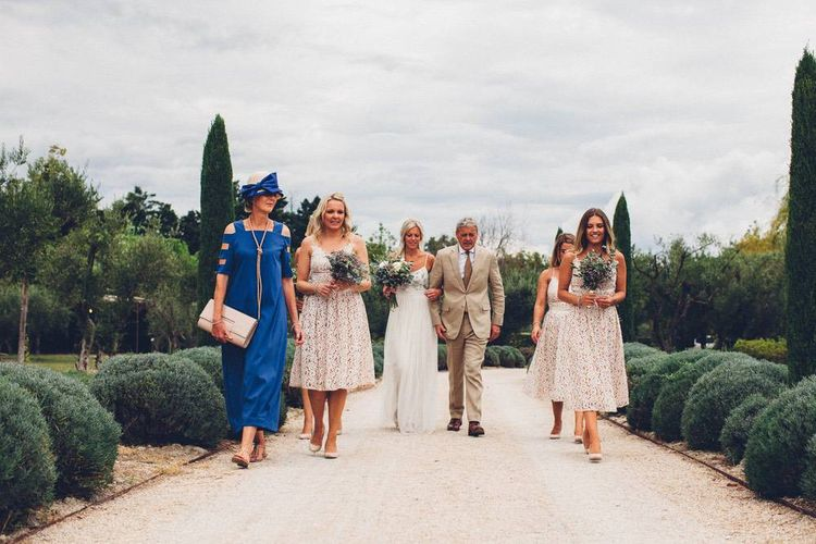 Bridal Party | Bride in Needle & Thread Beaded Bodice & Tulle Skirt Gown | Bridesmaids in Lace Dresses | Outdoor Destination Wedding at Le Peit Hameau Wedding Venue Provence, South of France Planned by By Mademoiselle | Lovestruck Photography