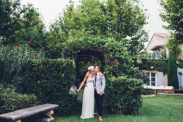 Bride in Needle & Thread Gown | Groom in Reiss Chinos & Blazer | Outdoor Destination Wedding at Le Peit Hameau Wedding Venue Provence, South of France Planned by By Mademoiselle | Lovestruck Photography