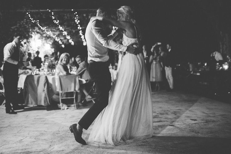 First Dance | Bride in Needle & Thread Gown | Groom in Reiss Chinos & Blazer | Outdoor Destination Wedding at Le Peit Hameau Wedding Venue Provence, South of France Planned by By Mademoiselle | Lovestruck Photography