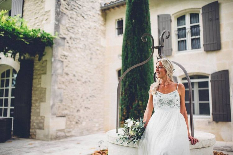 Bride in Needle & Thread Gown | Outdoor Destination Wedding at Le Peit Hameau Wedding Venue Provence, South of France Planned by By Mademoiselle | Lovestruck Photography