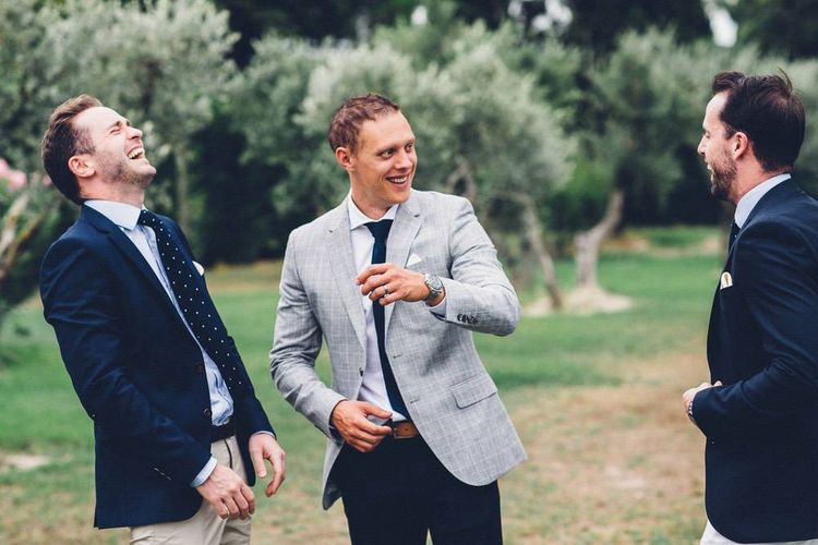 Groom in Reiss Navy Chinos & Grey Check Blazer | Outdoor Destination Wedding at Le Peit Hameau Wedding Venue Provence, South of France Planned by By Mademoiselle | Lovestruck Photography
