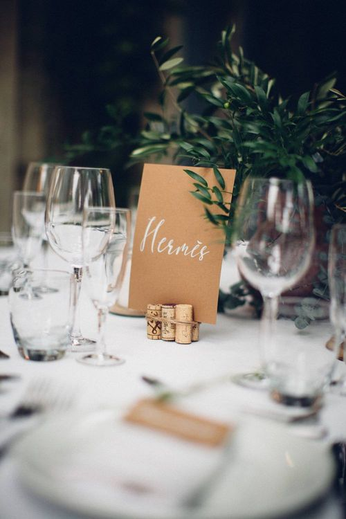 Craft Paper Table Name in Cork Holder | Wedding Decor | Outdoor Destination Wedding at Le Peit Hameau Wedding Venue Provence, South of France Planned by By Mademoiselle | Lovestruck Photography